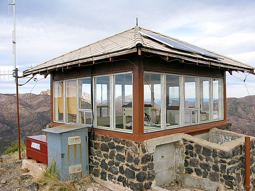 Fire lookout atop Sugarloaf Mountain in Chiricahua National Monument, Arizona