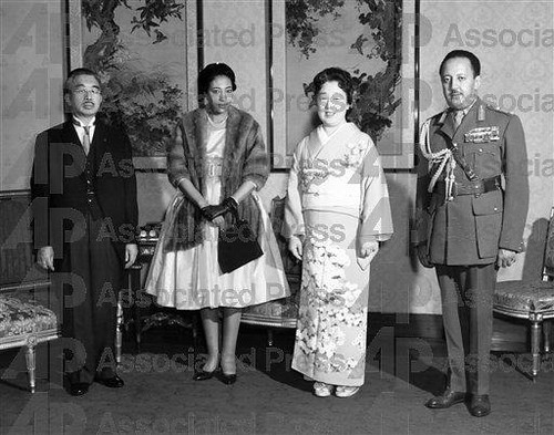Their Imperial Majesties Emperor Hirohito and Empress Nagako of Japan, with Their Imperial Highnesses Crown Prince Asfaw Wossen and Crown Princess Medferiashwork Abebe