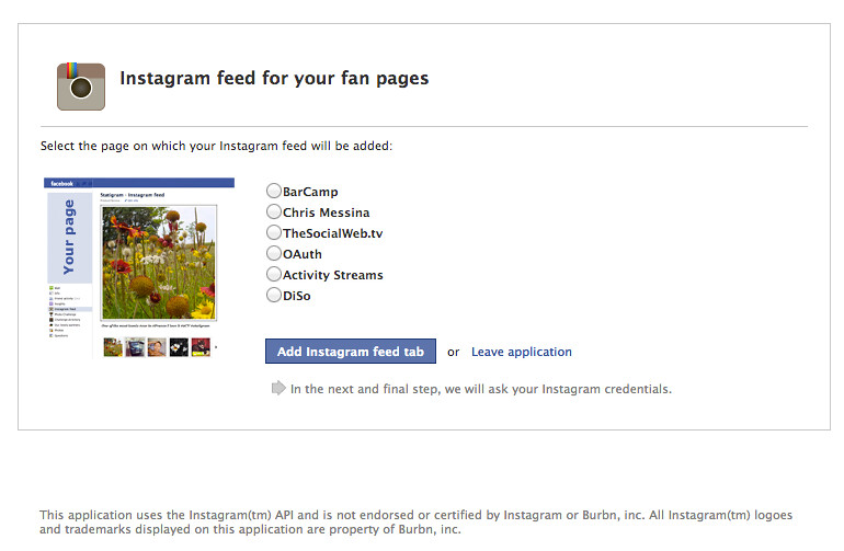 Instagram feed for your fan pages on Facebook   apps faceboo