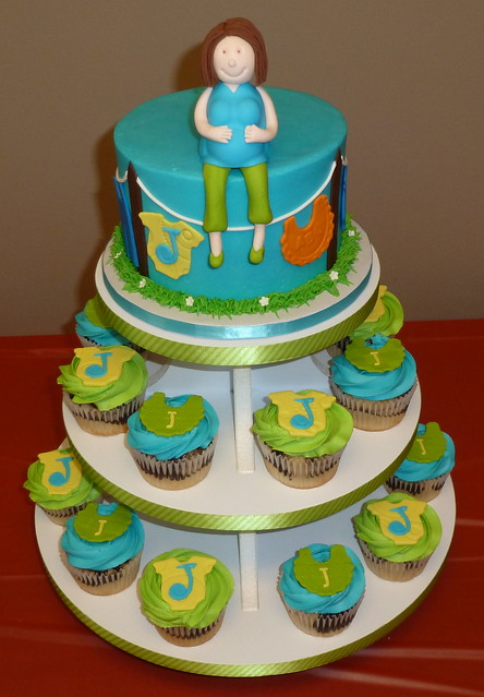 Pregnant Lady Baby Shower Cupcake Tower