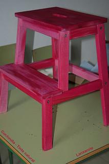 Banco escalera de madera teñido con cochinilla Lanzarote Mar12 178