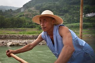 Boatman rows sampan on Shennong Stream | by retrotraveller