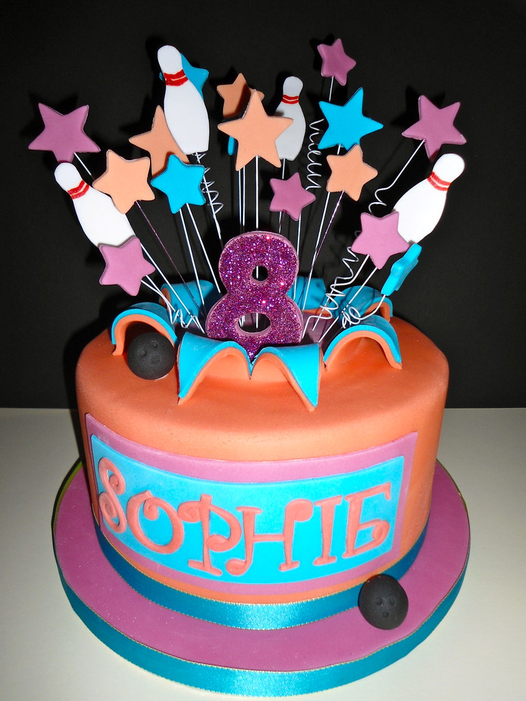 Astounding Bowling Party Cake 8Th Birthday Bowling Party Explosion Ca Personalised Birthday Cards Veneteletsinfo