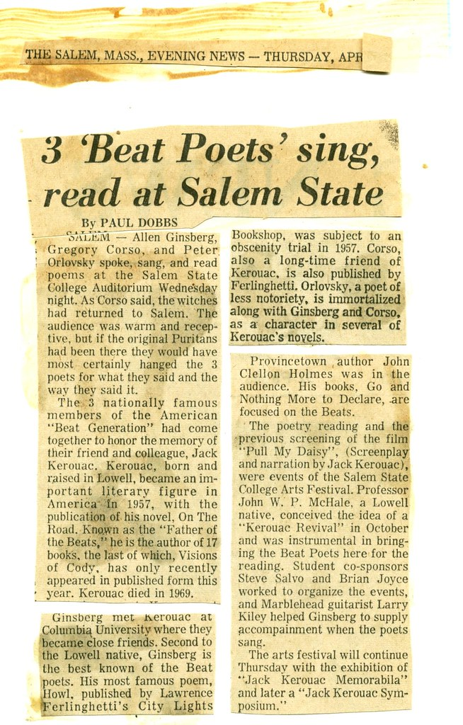 Newspaper Article about the Kerouac Symposium at Salem Sta