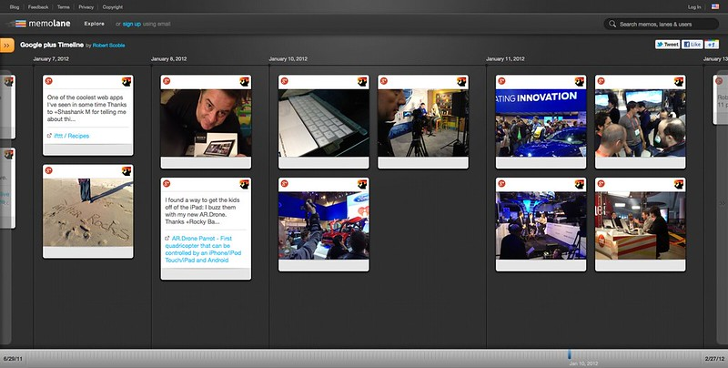 Google plus Timeline | Robert Scoble | Memolane | Jan 10, 2012