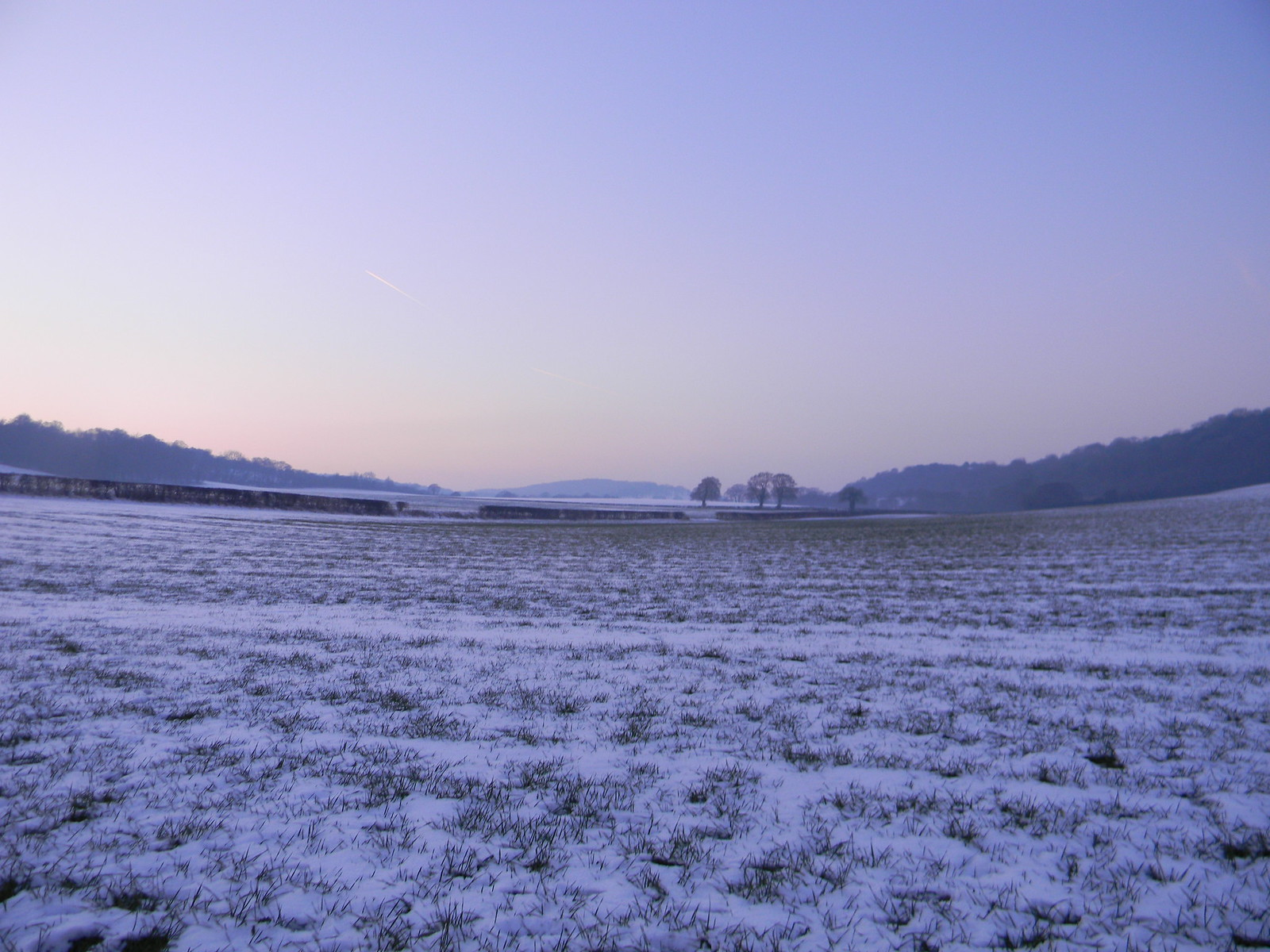 Pink glow with snow Saunderton to Bledlow