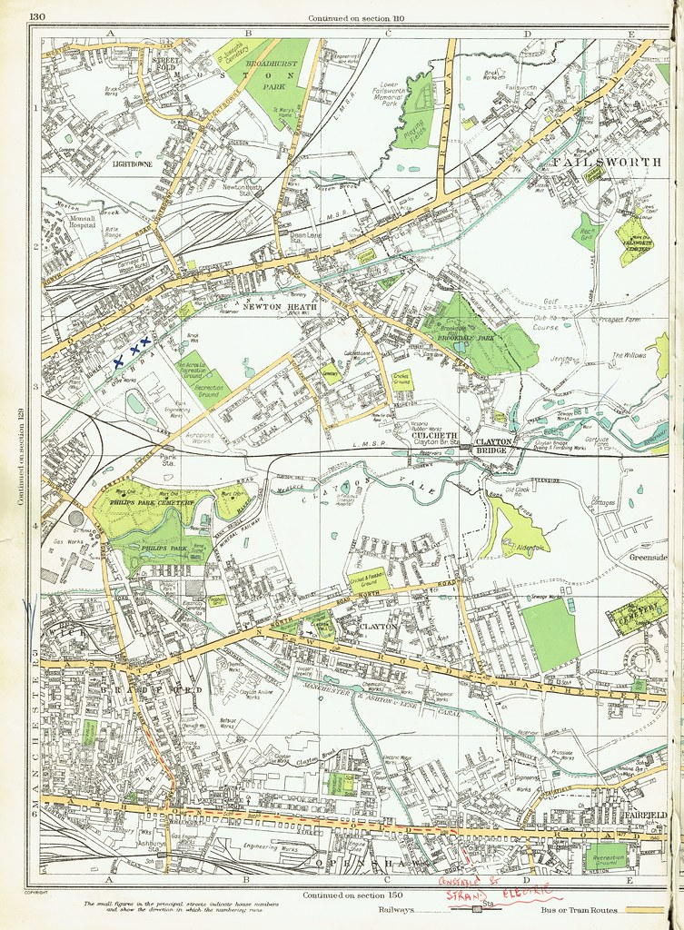 Street plan map of east Manchester (Bradford - Clayton - N ...