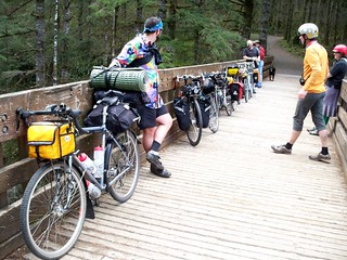 Bikes and riders at footbridge