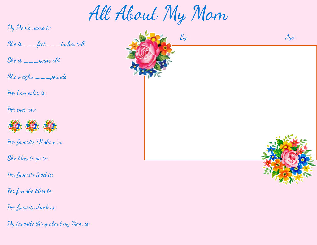 picture relating to All About My Mom Printable named Moms working day freebie Printable for YOT by means of FPTFY Absolutely free Mom