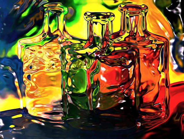 Molten Glass Bottles