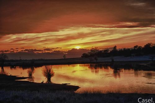sunset landscape view chico horseshoelake hdr xti
