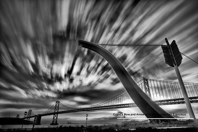 Cupid's Bow and Arrow with Bay Bridge San Francisco