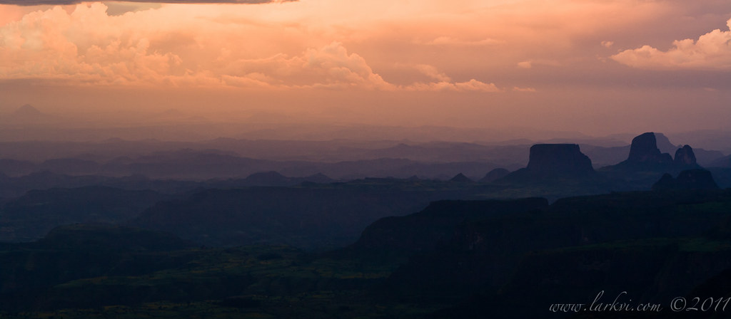 Sunset #2 from Sankaber Camp, Simien Mountains, Ethiopia, 2007 by larkvi