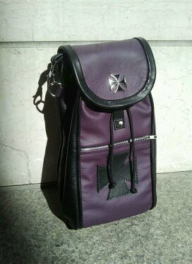 Women's purple & black leather backpack with maltese cross | by Three Mutts Customs