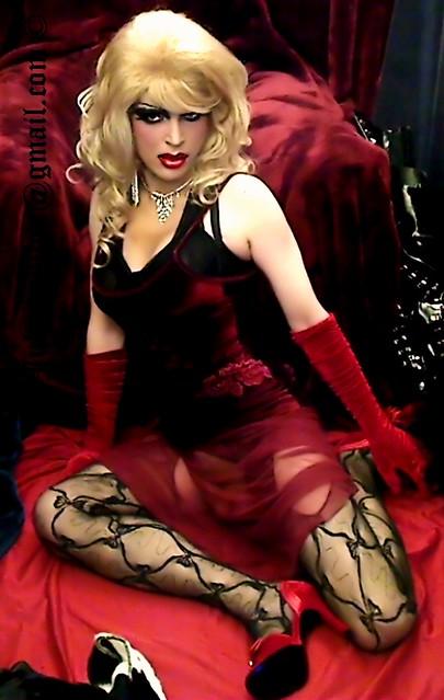 Sensual red velvet dress
