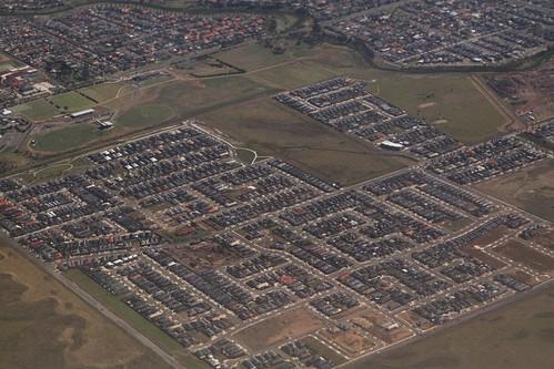 Brand new housing estates in the western Melbourne suburb of Truganina