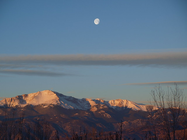 Moonset Over Pikes Peak
