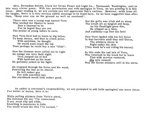 1963 Poem About Lineman Vern Coffelt   by Orcas Power & Light Cooperative