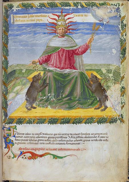 London BL - Harley 1340  f. 1r  Pope Nicholas III c