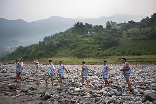 Boatmen rest from dragging sampan on Shennong Stream | by retrotraveller