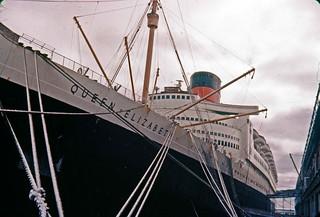 Bow of Cunard QE at Halifax NS 1957