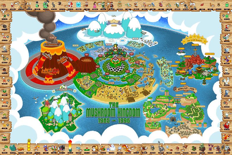 NES/SNES-era Mushroom Kingdom Map