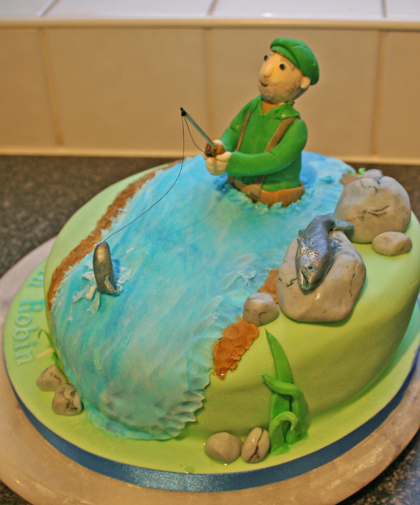 Admirable Salmon Fishing Birthday Cake Janet Whitehead Flickr Funny Birthday Cards Online Alyptdamsfinfo