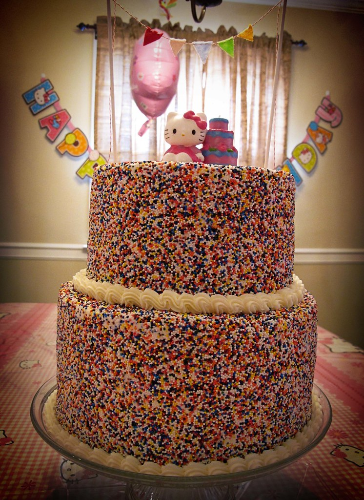 Sprinkles Rainbow Layered Hello Kitty Birthday Cake