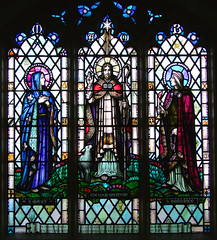 Good Shepherd flanked by the Blessed Virgin and St Beatrice