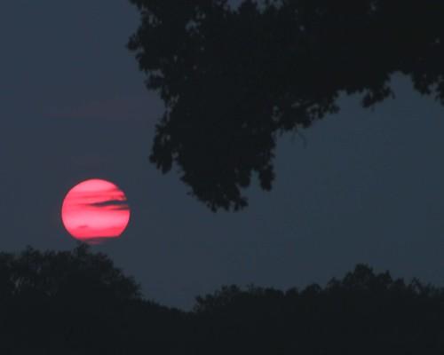 sunset red smoke