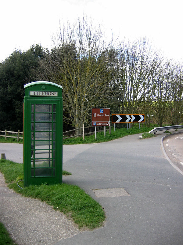 Green telephone box at Exceat