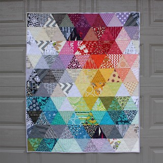 Scrappy triangles quilt. 47 x 58