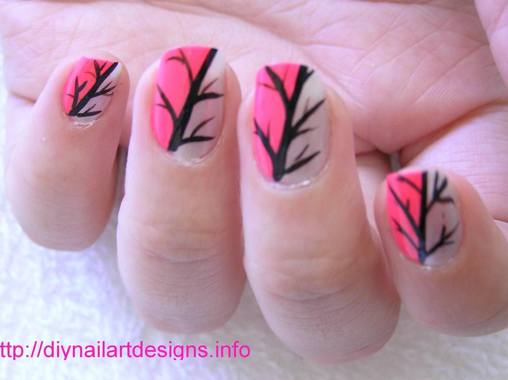 Easy Nail Art Designs Pink And Silver Abstract Nail Desig Flickr