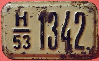 USSR, ESTONIAN S.S.R. 1953 ---BICYCLE LICENSE PLATE #1 FRONT VIEW