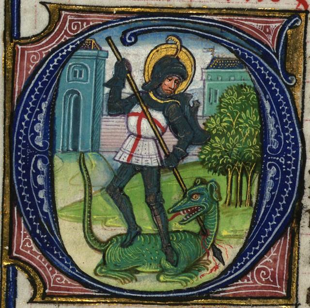 Illuminated Manuscript, Book of Hours, St. George, Walters Manuscript W.168, fol. 217v detail