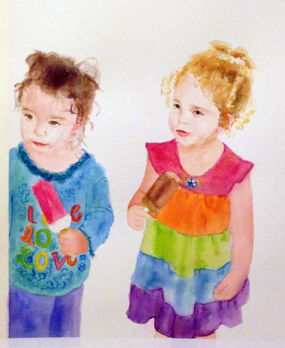 watercolor portrait of my nieces   by adine.rotman