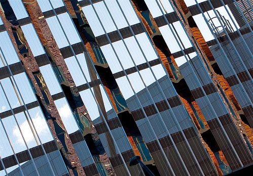 sky abstract reflection building glass reflections bricks