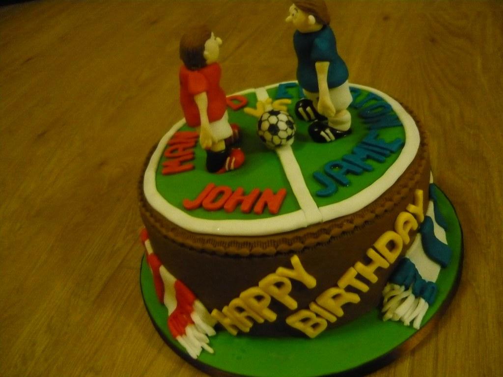 Remarkable 55 Two Boys Football Birthday Cake 29 February 2012 1 1 Flickr Birthday Cards Printable Giouspongecafe Filternl
