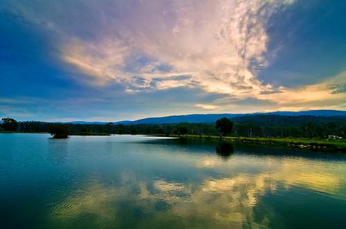 sunset sky cloud lake reflection water