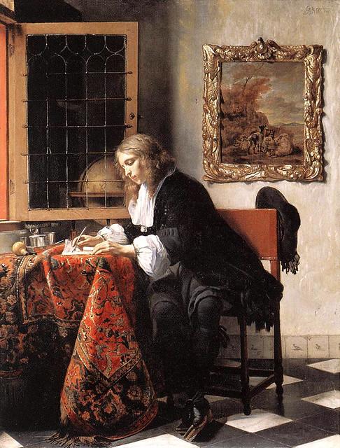 Metsu, Gabriel (Dutch, 1629-1667) - Man Writing a Letter - 1662-65