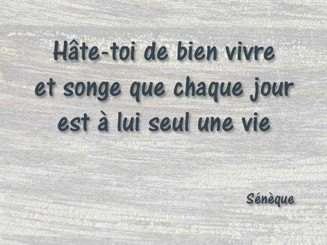 Citation Seneque 02 Hâte Toi De Bien Vivre Et Songe Que Ch