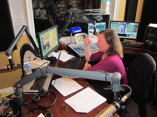 Suzanne Corley on the board interviewing Rick Trolsen. Photo by Jennifer Leslie