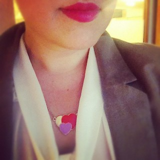 Pink lips and heart necklace. | by elissasweet