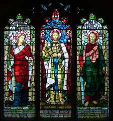 Christ flanked by Mary at the Annunciation and St Simon