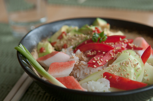 Valentines Lunch: Rice with Cucumber, Pepper, Avocado | by Pen Waggener
