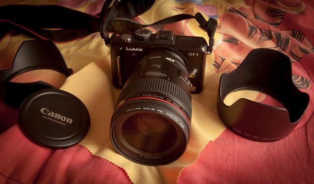 Panasonic GF1 with Canon EF 35L