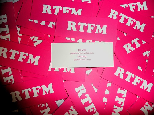 """RTFM"" for geek feminism Moo cards 1/2 