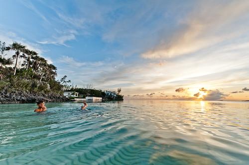 ocean sunset sun water swimming caribbean bahamas eleuthera tenbay