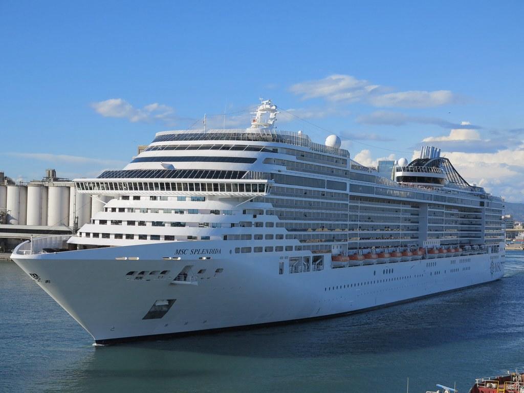 MSC Splendida.   This cruise ship was in Barcelona when we ...
