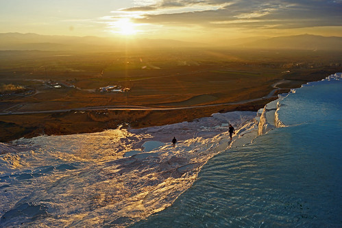 blue sunset people reflection water yellow turkey dry sparkle pamukkale